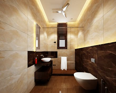 Residence Pinjaniji: Modern Bathroom By KHOWAL ARCHITECTS + PLANNERS