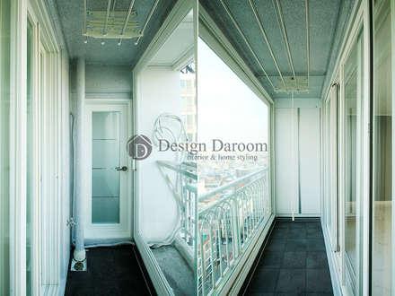 암사동 한강포스파크 아파트 안방 발코니: Design Daroom 디자인다룸의  베란다