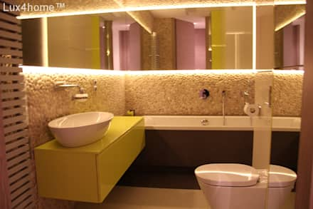 Pebble tile bathroom - Beige Pebble Tiles: rustic Bathroom by Lux4home™ Indonesia