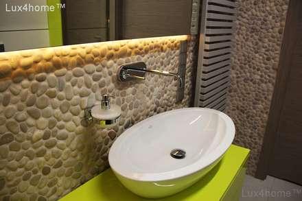 Pebble tile bathroom wall - Beige Pebble Tiles: scandinavian Bathroom by Lux4home™ Indonesia
