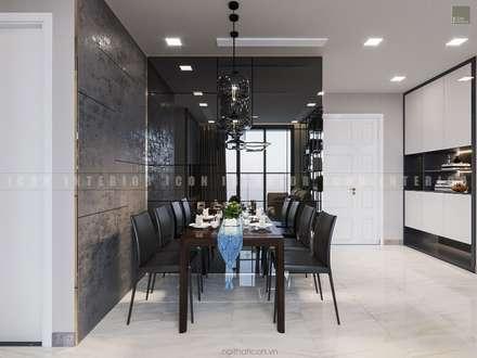 Aqua 3 Vinhomes Golden River - Phong cách hiện đại:  Phòng ăn by ICON INTERIOR