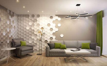 DESIGN PROJEKT W NOWOCZESNYM STYLU: styl , w kategorii Salon zaprojektowany przez Design studio TZinterior group