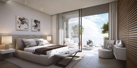 CONCURSO DE IDEAS DE ARQUITECTURA EN MIJAS, MALAGA: Dormitorios de estilo moderno de G&J ARQUITECTURA