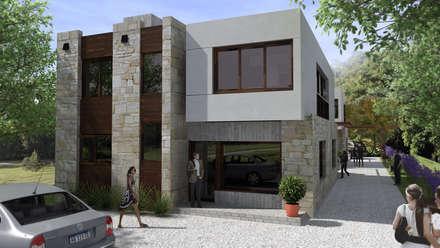 DUPLEX EN MIRAMAR: Casas multifamiliares de estilo  por ENTASIS ARQUITECTURA  -    DISEÑO  Y  CONSTRUCCIÓN