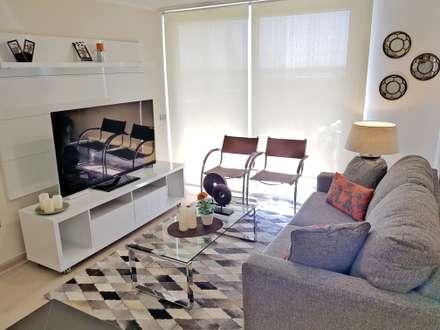 Living comedor 28 m2: Livings de estilo moderno por Oscar Saavedra Diseño y Decoración Spa