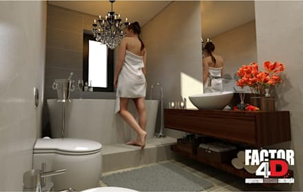 Virtual3D#006: Casas de banho ecléticas por Factor4D - Arquitetura, Engenharia & Construção