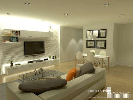 Estudio de interior:  materiales, iluminación y distribución: Salones de estilo moderno de Paula Sarrión