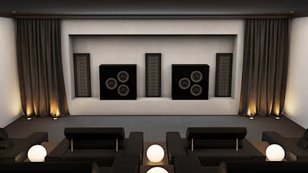 Home Cinema Room showing Speakers:  Electronics by Custom Controls
