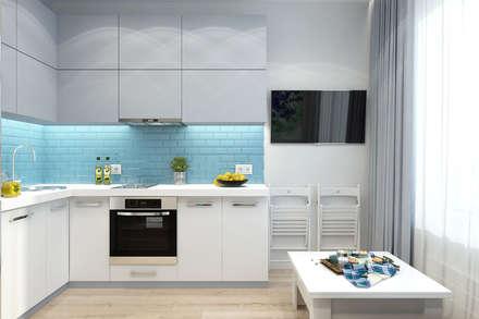 Однокомнатная квартира в ЖК Новин квартал: Кухни в . Автор – Гузалия Шамсутдинова | KUB STUDIO