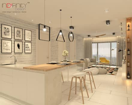 Scandinavian Design . Condominium: scandinavian Living room by inDfinity Design (M) SDN BHD