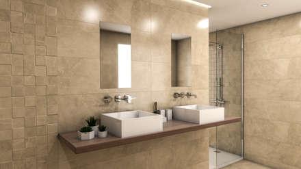 Delice Marfil 29x89: Baños de estilo moderno de Azulev