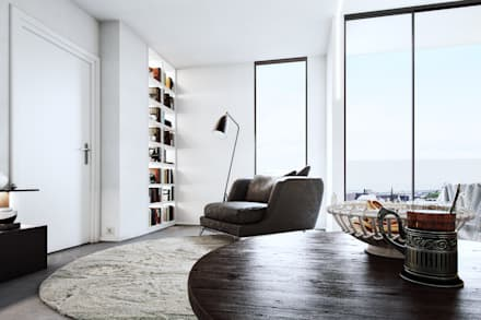 Living Space : minimalistic Living room by 7Storeys