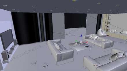 Modellazione e Rendering ambienti interni – Living in stile moderno: Sala multimediale in stile  di Modellazione-3d.it