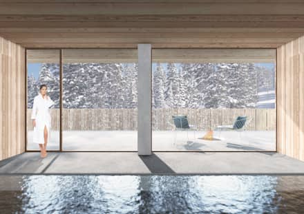 CASA IN MONTAGNA: Spa in stile in stile Minimalista di studio conte architetti
