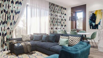 Проект апартаментов в ЖК Идеал-Хаус, г. Сочи: Гостиная в . Автор – Dinastia Designs