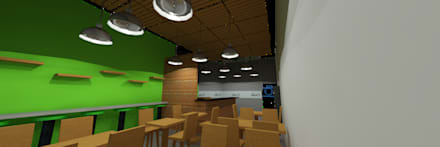 Arquitectura comercial para los locales de comida saludable CRUDO SABIDURÍA LÍQUIDA: Restaurantes de estilo  por JOSE RAFAEL FERERO ARQUITECTO