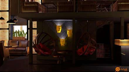 Оригинальное освещение интерьера кальянной - светильники в форме головы: Коммерческие помещения в . Автор – Art-i-Chok