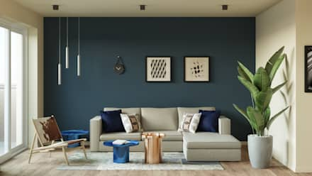 wide living space: Salones de estilo industrial de Isabel Gomez Interiors
