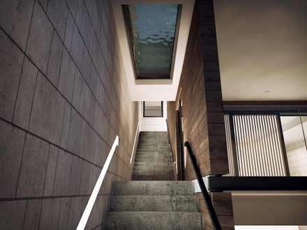 Conjunto Bifamiliar Playa Caballeros: Pasillos y vestíbulos de estilo  por Artem arquitectura