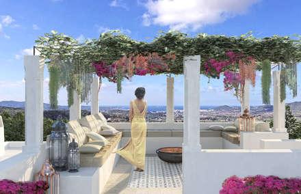 Can Abi: Terrazza in stile  di architetto stefano ghiretti