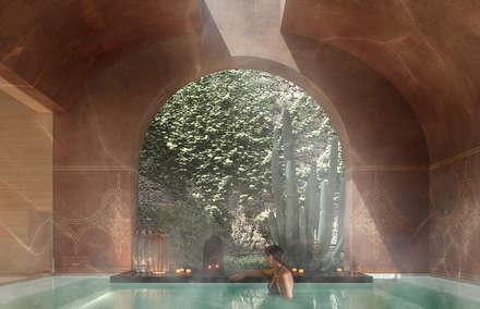 Can Abi: Bagno turco in stile  di architetto stefano ghiretti