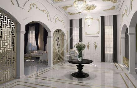 Entrance Hallway:  Corridor & hallway by Comelite Architecture, Structure and Interior Design
