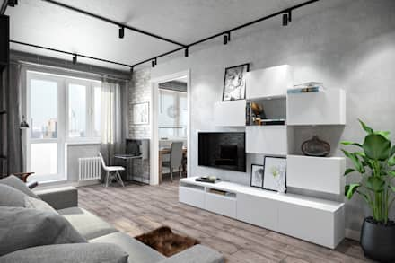 Квартира 75 кв.м. в стиле лофт на Мичуринском.: Гостиная в . Автор – Студия архитектуры и дизайна Дарьи Ельниковой