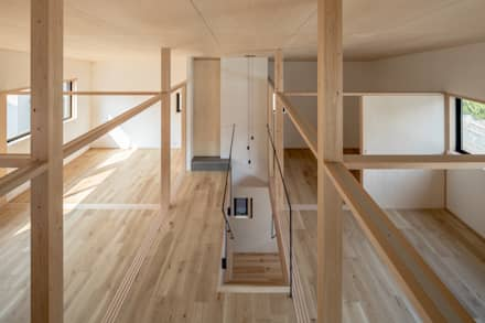 2階全景: 一級建築士事務所 SAKAKI Atelierが手掛けた寝室です。
