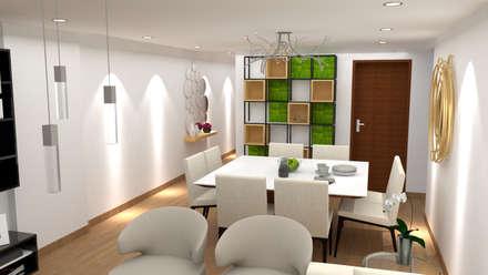 Diseño sala - comedor : Comedores de estilo moderno por Dis.Oliver Quijano