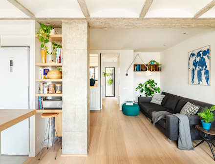 Reforma salón abierto vivienda: Salones de estilo escandinavo de Sezam disseny d'Interiors SL