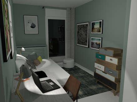 Appartement en Région parisienne: Chambre d'adolescent de style  par Anne Lapointe Chila