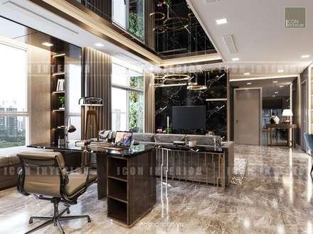 Phong cách hiện đại trong thiết kế nội thất căn hộ Vinhomes Central Park:  Phòng học/Văn phòng by ICON INTERIOR