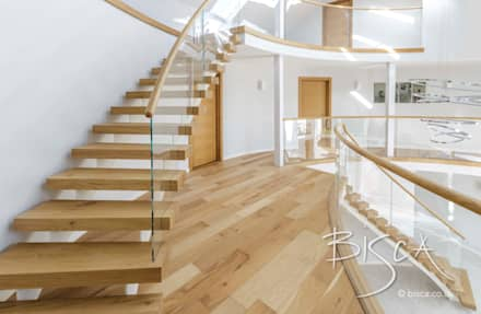 Painted Twin Stringer Stair with Glass Balustrade:  Stairs by Bisca Staircases