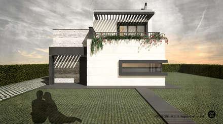 Moradia Bicesse (Cascais): Moradias  por ATELIER OPEN ® - Arquitetura e Engenharia