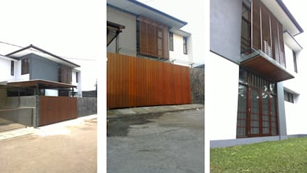 Pintu Gerbang Kayu Pinus Solid:  Rumah tinggal  by Urbanismo Indonesia