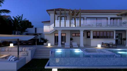 Exterior de noche: Casas de estilo clásico de Pacheco & Asociados