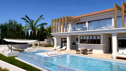 Exterior y piscina de día: Casas de estilo clásico de Pacheco & Asociados