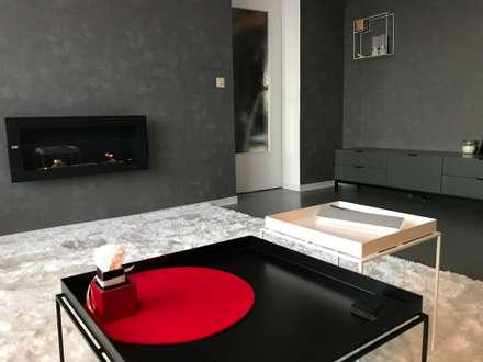 Wohnzimmer Mit Kamin Und Roten Akzenten: Minimalistische Wohnzimmer Von  Nadine Buslaeva Interior Design