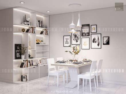 Thiết kế nội thất Vinhomes Centra Park  đẹp rạng ngời cùng sắc trắng tinh khôi:  Phòng ăn by ICON INTERIOR