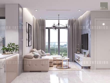 Thiết kế nội thất Vinhomes Centra Park  đẹp rạng ngời cùng sắc trắng tinh khôi:  Phòng khách by ICON INTERIOR