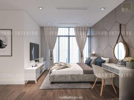 Thiết kế nội thất Vinhomes Centra Park  đẹp rạng ngời cùng sắc trắng tinh khôi:  Phòng ngủ by ICON INTERIOR