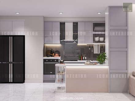 Thiết kế nội thất Vinhomes Centra Park  đẹp rạng ngời cùng sắc trắng tinh khôi:  Nhà bếp by ICON INTERIOR
