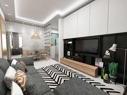 Casa S + V: Salas multimédia modernas por SÓDESIGN