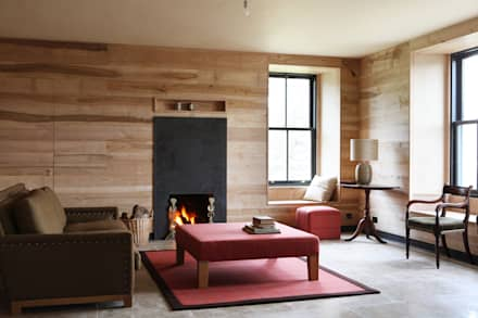 Olive Ash Cladding: country Living room by Ben Sutton (Timber) Ltd
