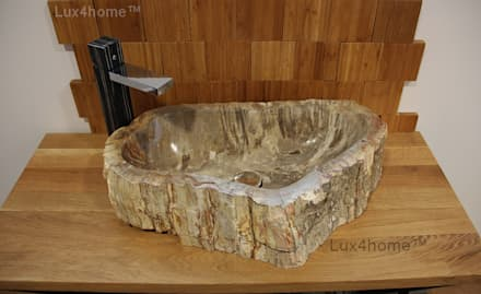 Natural petrified wood vessel sinks: rustic Bathroom by Lux4home™ Indonesia