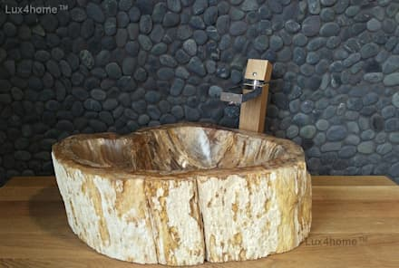 Petrified Wood Bathroom Sinks: country Bathroom by Lux4home™ Indonesia