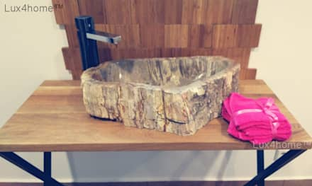 petrified wood sinks for sale: scandinavian Bathroom by Lux4home™ Indonesia