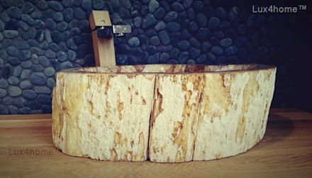 Petrified wood vessel sink - wash basin: scandinavian Bathroom by Lux4home™ Indonesia