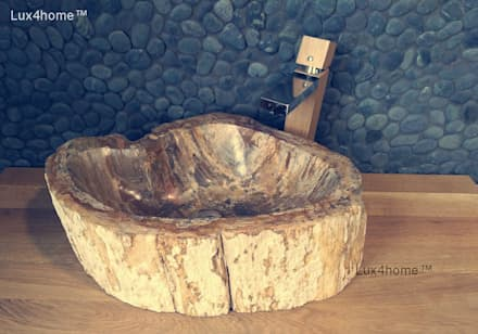 Petrified wood vessel sink - wash basin: rustic Bathroom by Lux4home™ Indonesia
