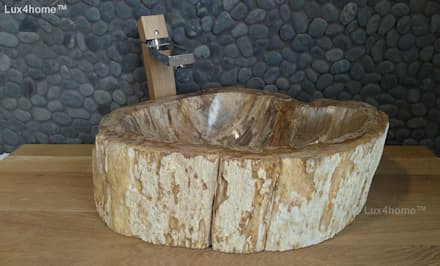 petrified wood wash basin: mediterranean Bathroom by Lux4home™ Indonesia